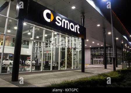 Vancouver. Canada - January 9, 2018: A Smart car sign exhibited on the building of official dealer Mercedes-Benz. - Stock Photo