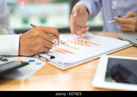 Business man calculating budget numbers, Invoices and financial adviser working. - Stock Photo