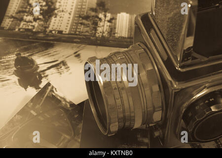 old camera retro medium format camera in the old style - Stock Photo