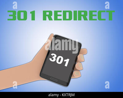 3D illustration of 301script on the screen of a cellulr phone held by hand, isolated on blue gradient, with the - Stock Photo