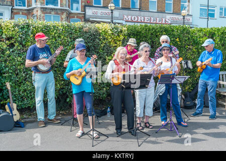 Broadstairs Folk Week Festival. Members of the U3A, a gruop which encourages older people to learn new skills, playing - Stock Photo