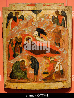 The Nativity. Russian Icon. 16th century. National Gallery. Oslo. Norway. - Stock Photo