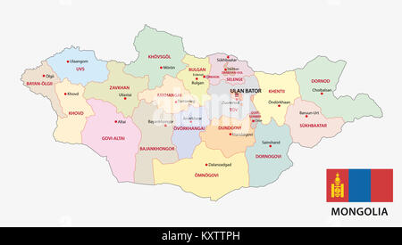 mongolia administrative and political vector map with flag - Stock Photo