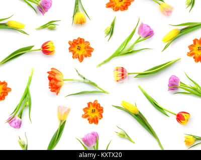 Floral pattern made of colorful tulips on white background. Top view. Pattern of flowers. - Stock Photo