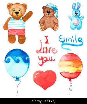 Set of different toys. Bear, rabbit, balloons. Lettering smile and I love you. Hand draw watercolor - Stock Photo