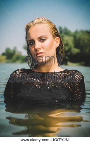 Girl Water Golden Bikini Pool Bath Bathing Young Woman Swimming Pool Stock Photo 33047136 Alamy