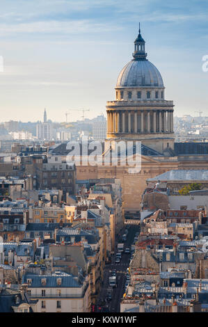 Paris skyline, view over the rooftops of the Left Bank (Rive Gauche) in Paris towards the landmark neoclassical - Stock Photo