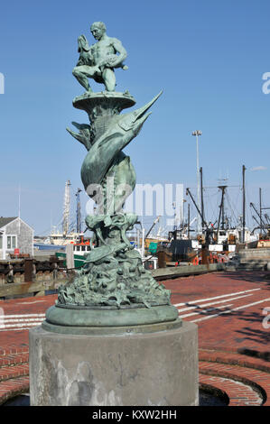 Memorial to the Whalemen and Fishermen in Tonnessen Park on New Bedford Harbor, Massachusetts the number one fishing - Stock Photo