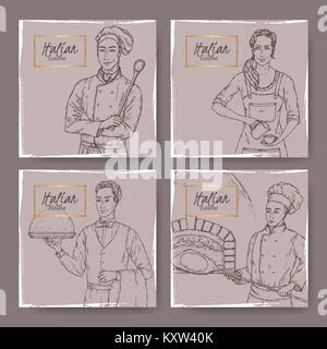 Set of four Italian cafe vintage labels with cook, baker, waiter and barista sketch. - Stock Photo