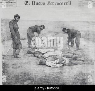 Fotografía de hombres muertos en el campo de La Alianza durante la Guerra del Pacífico, en 1879-2 - Stock Photo