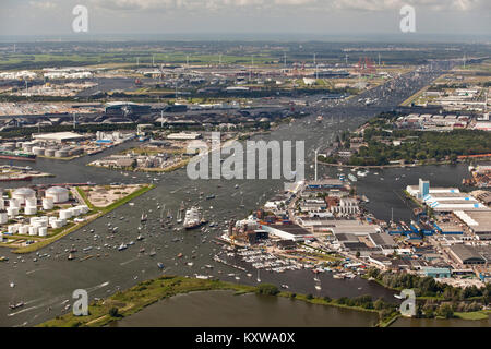 The Netherlands, Amsterdam, sailing event SAIL, celebrated every 5 years. SAIL-2010. Aerial of parade of tall ships - Stock Photo