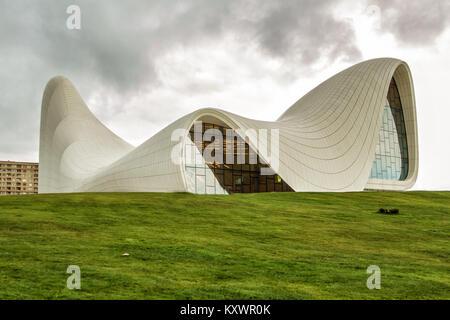 Baku, Azerbaijan - Heydar Aliyev Center Museum in Baku. Cosmic architecture of Zaha Hadid architect. Modern cultural - Stock Photo