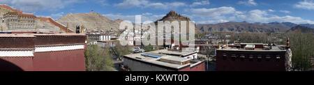 GYANTSE, CHINA - CIRCA MAY 2017 View from Gyantse monastery - Stock Photo