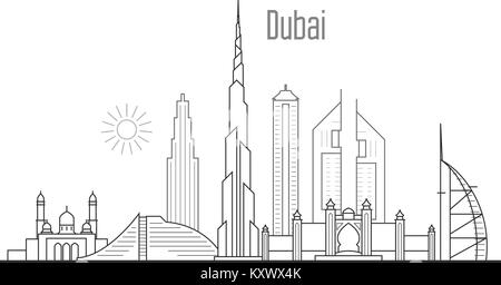 Dubai city skyline - towers and landmarks cityscape in liner style - Stock Photo