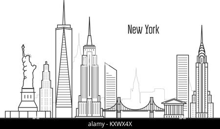 New York city skyline - Manhatten cityscape, towers and landmarks in liner style - Stock Photo