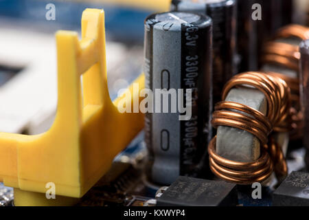 close up view of computer motherboard elements - Stock Photo