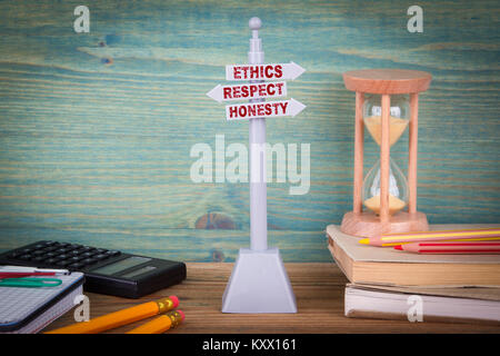 ethics respect honesty, code of conduct. Signpost on wooden table - Stock Photo