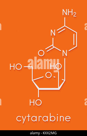 Cytarabine (cytosine arabinoside, Ara-C) chemotherapy drug molecule. Used in treatment of acute myeloid leukemia - Stock Photo