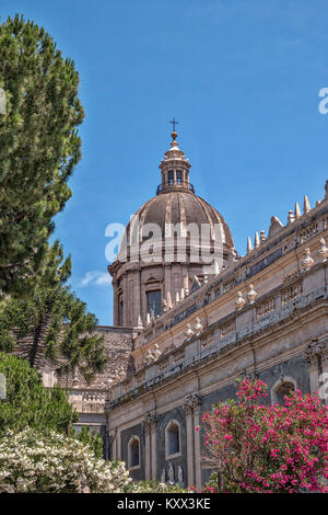 The Cupola of Saint Agatha Cathedral in Catania in Sicily - Stock Photo