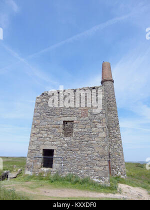 Disused Greenburrow Engine House, Ding Dong Tin Mine, Penwith Peninsula, Cornwall, England, UK in June - Stock Photo