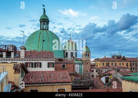 The Dome of San Simeon Piccolo's Church on the Grand Canal in Veneto, Venice, Italy, Europe, - Stock Photo