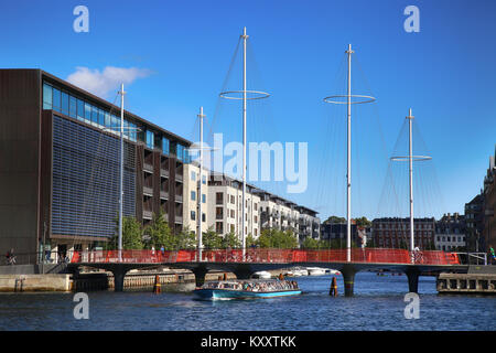 COPENHAGEN, DENMARK - AUGUST  16, 2016:  Beautiful view on the modern Circle Bridge ( Cirkelbroen ) and canal with - Stock Photo