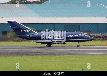 G-FRAP, a Dassault Falcon 20 operated by Cobham Aviation Services, at Prestwick International Airport in Ayrshire. - Stock Photo