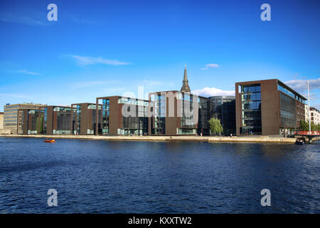 COPENHAGEN, DENMARK - AUGUST  16, 2016:  Beautiful view on Copenhagen waterfront, modern buildings and behind medieval - Stock Photo