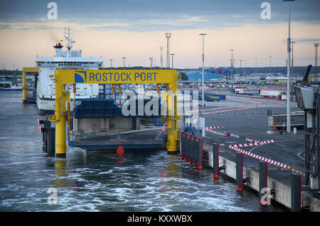 ROSTOCK, GERMANY - AUGUST 14, 2016: Shipping line rostock-gedser ferry in the seaport of Rostock. Rostock is Germany's - Stock Photo