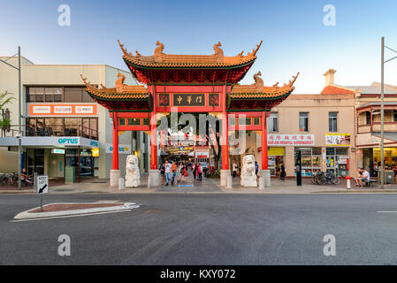 Adelaide, Australia - January 13, 2017: Chinatown with people in city centre of Adelaide viwed towards main entrance - Stock Photo