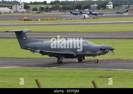 07-0821, a Pilatus U-28A operated by the United States Air Force, at Prestwick International Airport in Ayrshire. - Stock Photo