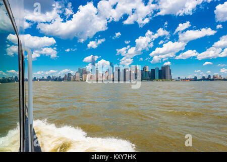 View on Manhattan, New York City, USA from Sailing Boat on the Hudson River - Stock Photo