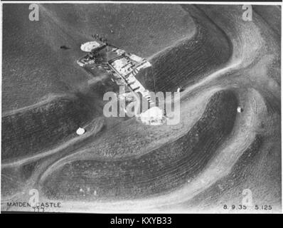 Excavation of Maiden Castle's east entrance, 1935 - Stock Photo