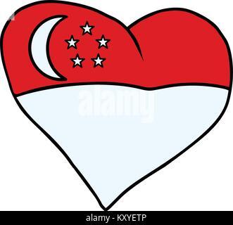 Singapore isolated heart flag on white background. Comic book cartoon pop art retro illustration - Stock Photo