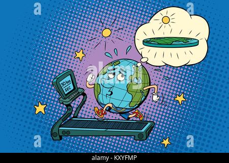 sad Fat Earth on the treadmill. Dream to lose weight. Sport fitness and healthy lifestyle. Sport fitness and healthy - Stock Photo