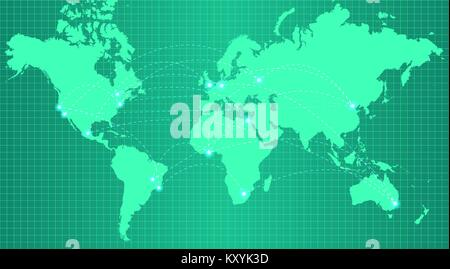 Earth map on trendy green gradient background - Stock Photo