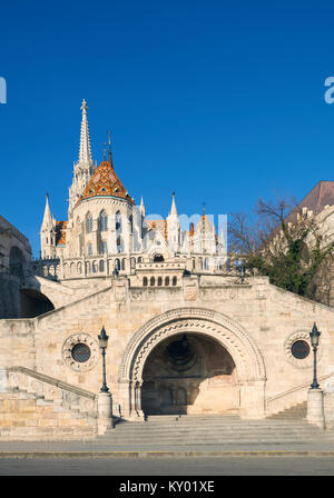 St, Matthias church and entrance to Fisherman Bastion in Budapest, Hungary, on a bright day - Stock Photo