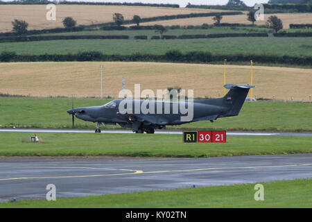 07-0691, a Pilatus U-28A operated by the United States Air Force, at Prestwick International Airport in Ayrshire. - Stock Photo