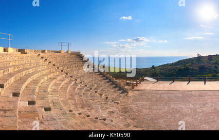 Small greek amphitheater in archaeological site in Paphos, Cyprus - Stock Photo