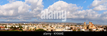 Panorama of Pafos, coastal city in Cyprus, with Agioi Anargyroi Church on the right - Stock Photo