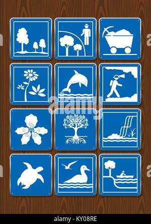 Set icons of protected area, mining, flower, dolphin, geology, orchid, mangrove, waterfall, turtle, seabirds, navigable - Stock Photo