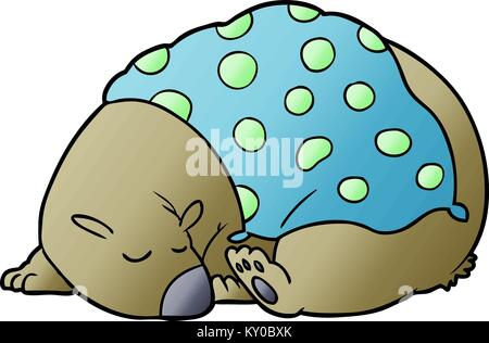sleeping bear cartoon character - Stock Photo