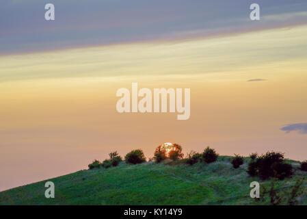 Sunset at Cherhill White Horse, Wiltshire UK - Stock Photo