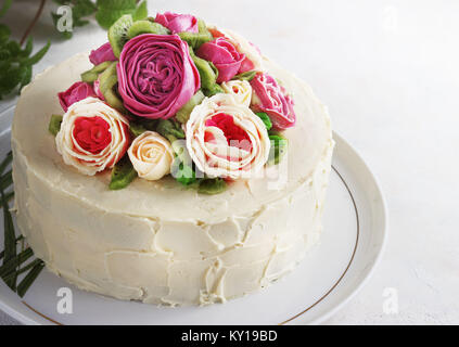 Birthday cake with flowers rose on white background - Stock Photo