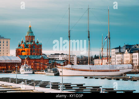 Helsinki, Finland. Evening View Of Uspenski Cathedral From Pier. - Stock Photo