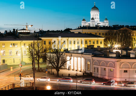 Helsinki, Finland. Night Evening View Of Helsinki Cathedral And Military Prison Building. - Stock Photo