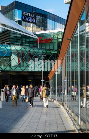 Westfield shopping centre in stratford with aspers casino in the background, London, UK - Stock Photo