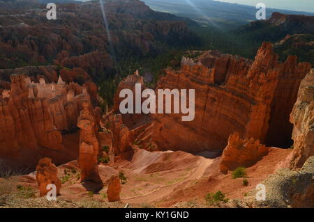 Thor's Hammers At Dawn In Bryce Canyon Formations Of Hoodos. Geology. Travel.Nature. June 25, 2017. Bryce Canyon. - Stock Photo