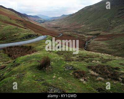 Looking down the Newlands Valley Pass towards Keswick, Lake District National Park, Cumbria, United Kingdom - Stock Photo