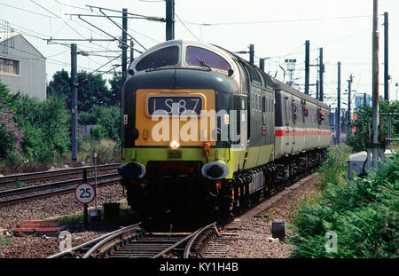 A class 55 deltic diesel locomotive number 55022/D9000 'Royal Scots Grey' working  a Virgin Cross Country service - Stock Photo